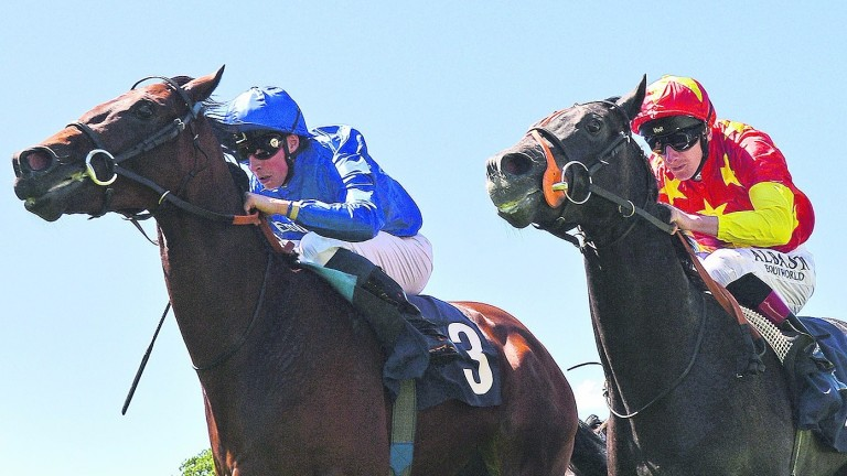 Glorious Journey (William Buick, left) wins impressively for Godolphin