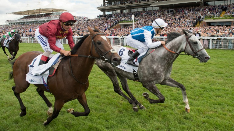 Solow (Maxime Guyon,right) beats Arod (Andrea Atzeni) to win the Sussex Stakes in 2015