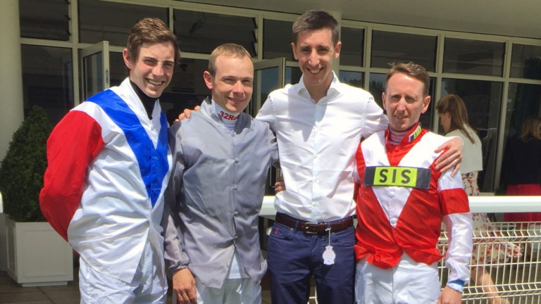 George Baker with James Doyle, Jamie Spencer and Martin Dwyer at Goodwood 11/6/2017. Pic: Emily Jones