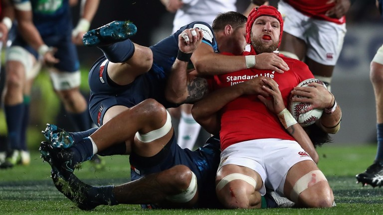 Former Highlander James Haskell is stopped in his tracks for the Lions against the Blues
