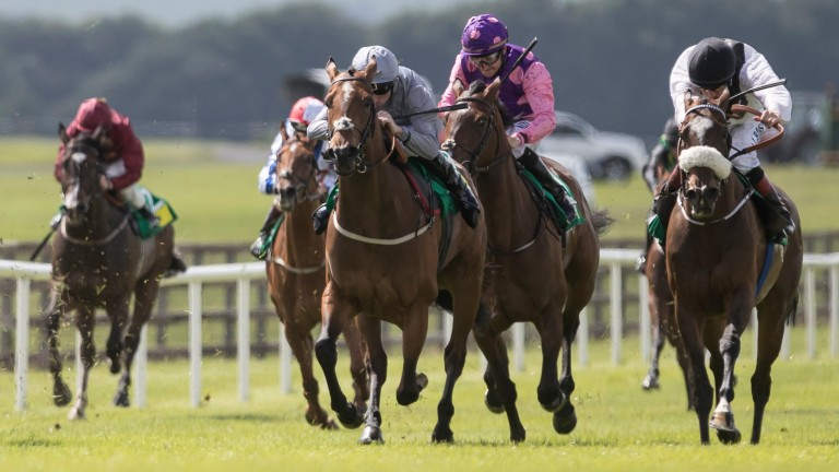 Penny Pepper (right) traded at 999-1 on Betfair before storming to success at the Curragh