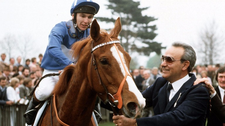 Philip Robinson with Pebbles and owner Captain Lemos after landing the 1,000 Guineas in 1984