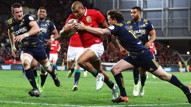 Jonathan Joseph scores a try for the Lions against the Highlanders