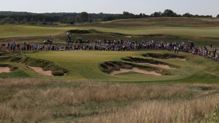 A general view of the 9th green at Erin Hills