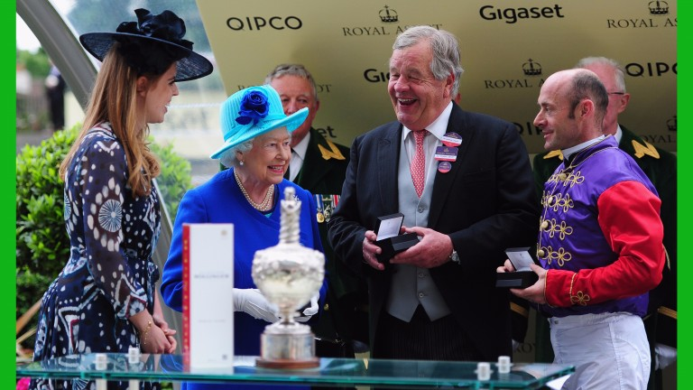 Dartmouth team: The Queen, Sir Michael Stoute and Olivier Peslier compare notes after the Hardwicke Stakes defeat of Highland Reel last year