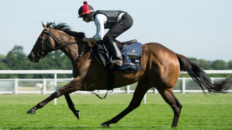 Lady Aurelia stretching out under Ryan Moore at Ascot