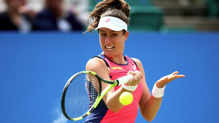 Britain's Jo Konta unleashes a forehand
