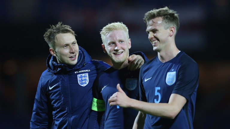 England's Under-21 side celebrate their 4-0 win over Denmark in March