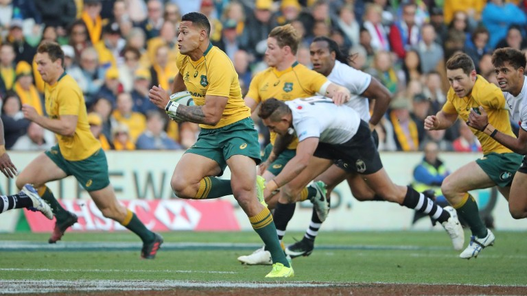 Israel Folau scored the opening try against Fiji