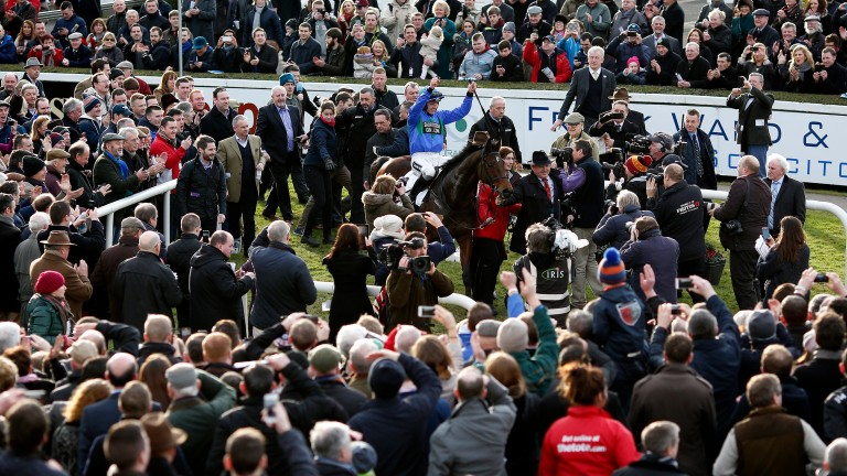 Hurricane Fly and Ruby Walsh after winning the 2015 Irish Champion Hurdle at Leopardstown