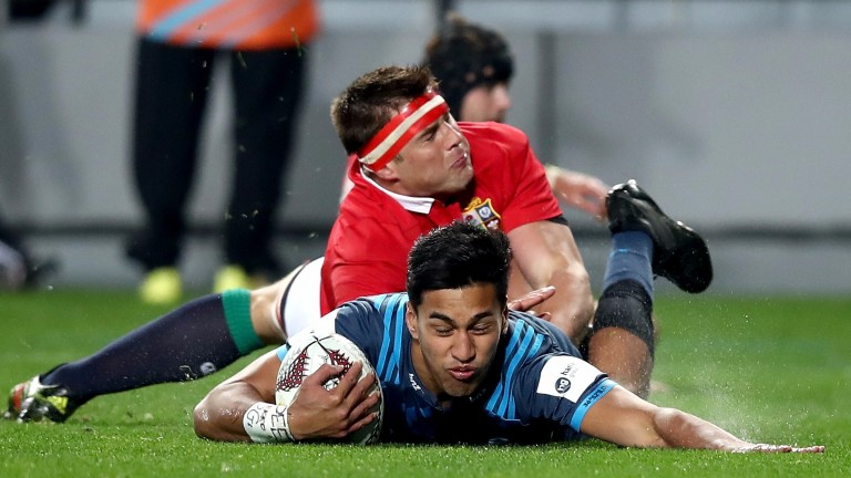 Rieko Ioane scored a try against the Lions for the Blues