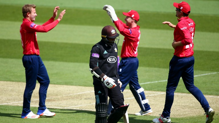 Beil Wagner and Essex celebrate the wicket of Kumar Sangakkara in their win over Surrey