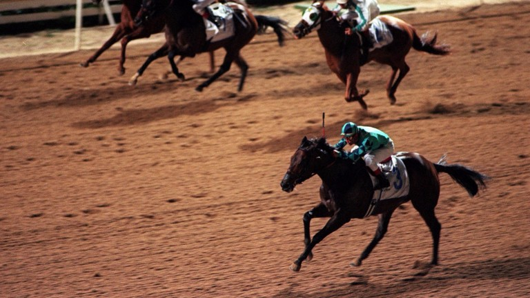 Big Jag (Alex Solis, bottom) wins the Group 1 Golden Shaheen in 2000