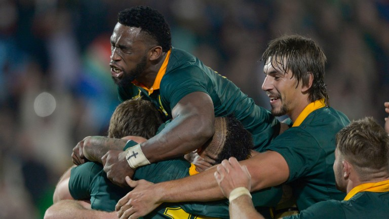 South Africa celebrate victory in the first Test against France