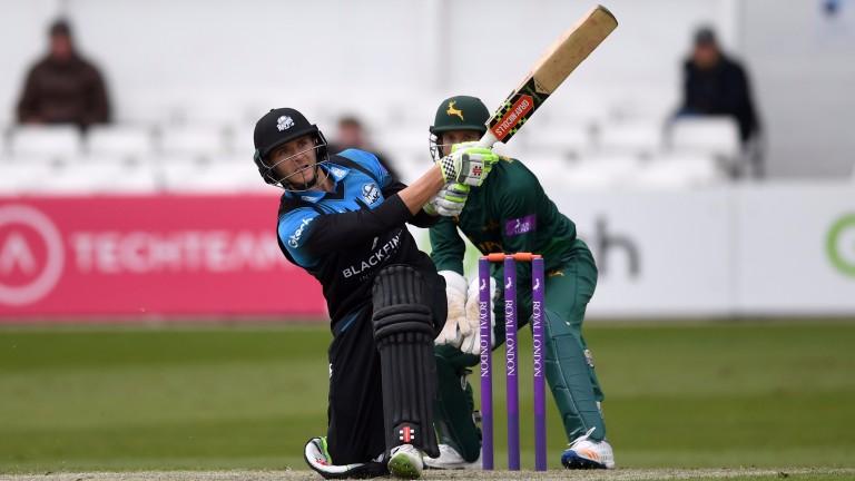 Worcestershire's Joe Clarke hits a six against Nottinghamshire