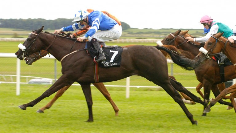 Miss Beatrix (7) lands the 2006 Moyglare Stud Stakes