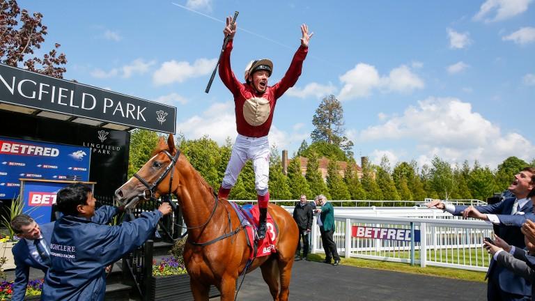 Frankie Dettori leaps from winner Hertford Dancer at Lingfield