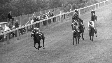 Hatta: Sheikh Mohammed's first winner follows up in the  Molecomb Stakes at Goodwood, with Ron Hutchinson in the saddle; second is Amaranda (Lester Piggott)