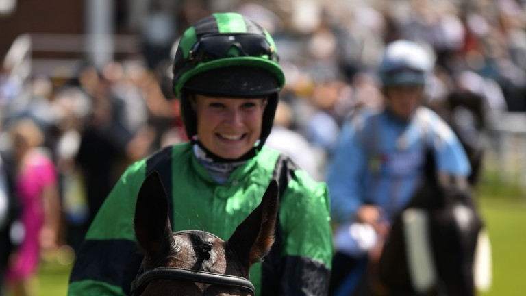 Loving it: winning rider Joanna Mason is thrilled following her victory on Tapis Libre in the opening Queen Mother's Cup