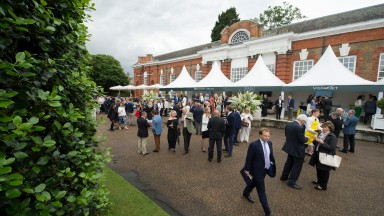 Guests mingle at the drinks reception ahead of the Goffs London Sale at The Orangery at Kensington Palace 13.6.16 Pic: Edward Whitaker