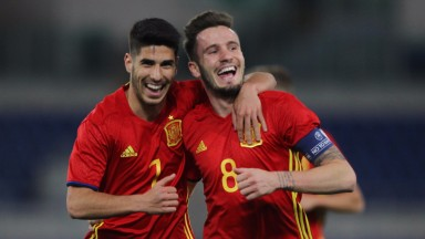 Spain's Marco Asensio (left) and Saul Niguez