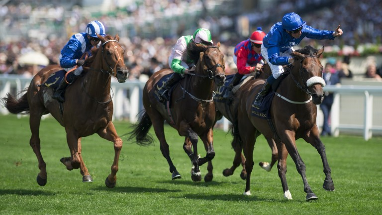 Ribchester (right) sweeps to victory in the Queen Anne Stakes