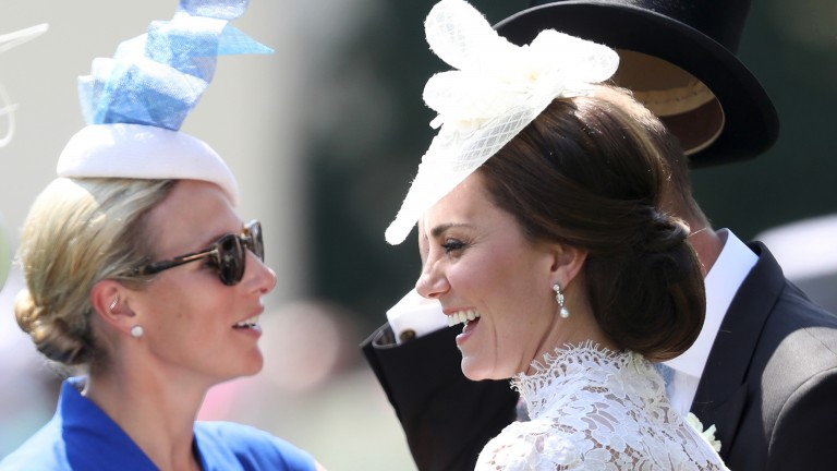 Zara Tindall (left) enjoys a day at Royal Ascot with the Duchess of Cambridge