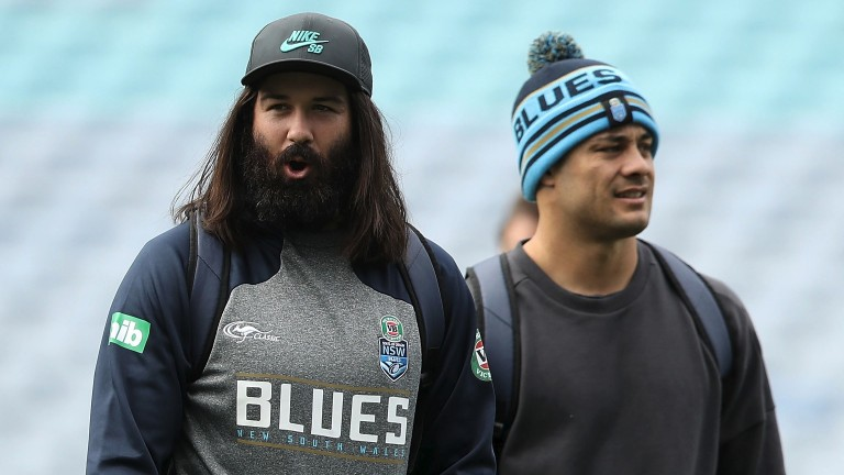 Aaron Woods and Jarryd Hayne during the New South Wales Blues State of Origin captain's run