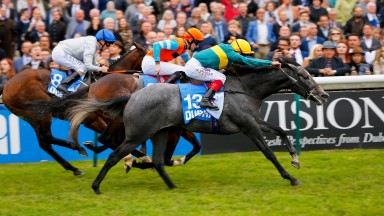 Coronet - Frankie Dettori wins from Cunco - Robert Havlin and Permian - Joe FanningThe Godolphin Flying Start Zetland Stakes (Listed Race)   Newmarket8/10/16.©Cranhamphoto.com