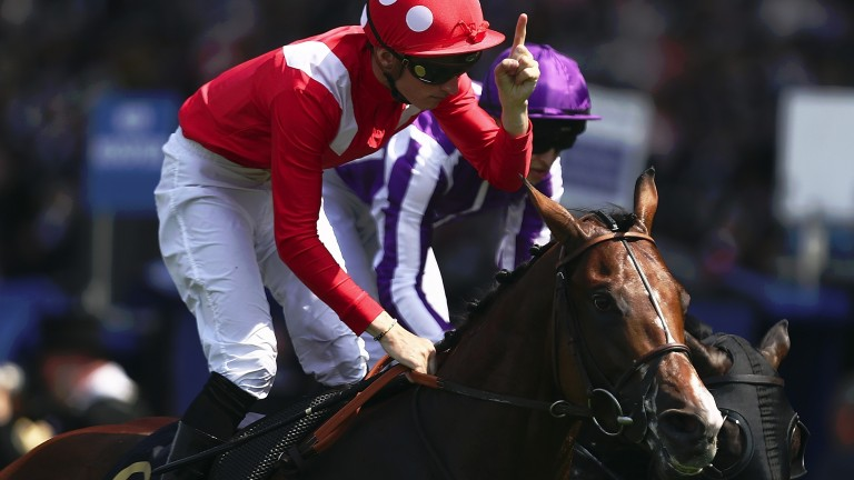 Pierre-Charles Boudot enjoys Royal Ascot success in June 2017 on Le Brivido in the Jersey Stakes