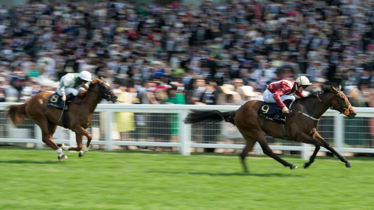 Heartache storms clear of Happy Like A Fool to win the Queen Mary Stakes