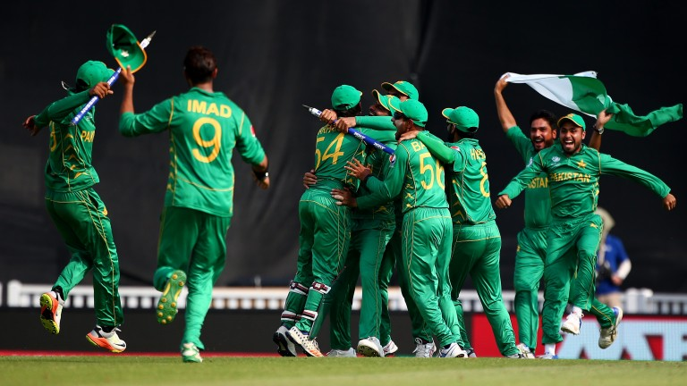Pakistan celebrate their Champions Trophy victory