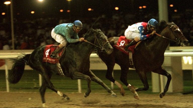 Start of something big: the legendary Cigar (Jerry Bailey) beats Soul Of The Matter in the inaugural Dubai World Cup at Nad Al Sheba in 1996