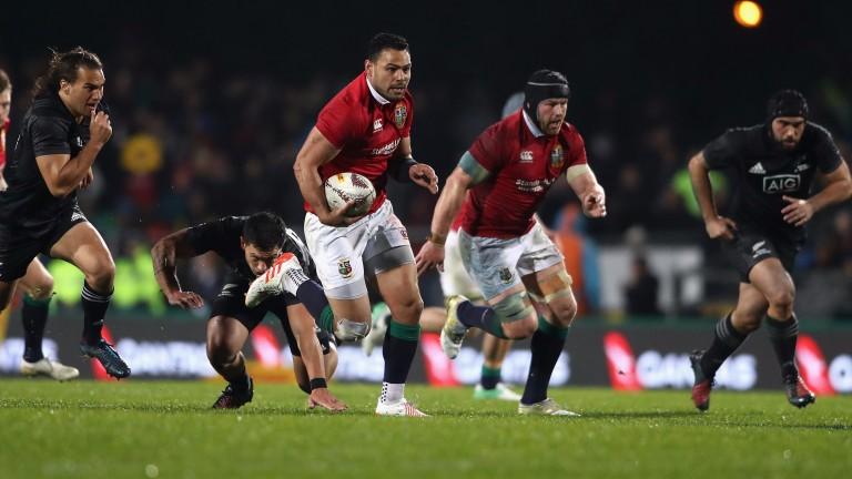 Lions centre Ben Te'o makes a break against the Maori All Blacks