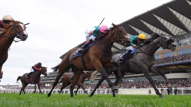 ASCOT, ENGLAND - JUNE 22:  Olivier Peslier on Coronet (R) wins the Ribblesdale Stakes on Day Three of Royal Ascot at Ascot Racecourse on June 22, 2017 in Ascot, England.  (Photo by Mike Hewitt/Getty Images)