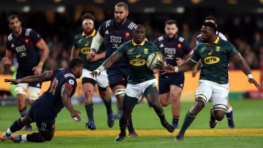 Raymond Rhule breaks for South Africa in the second Test against France