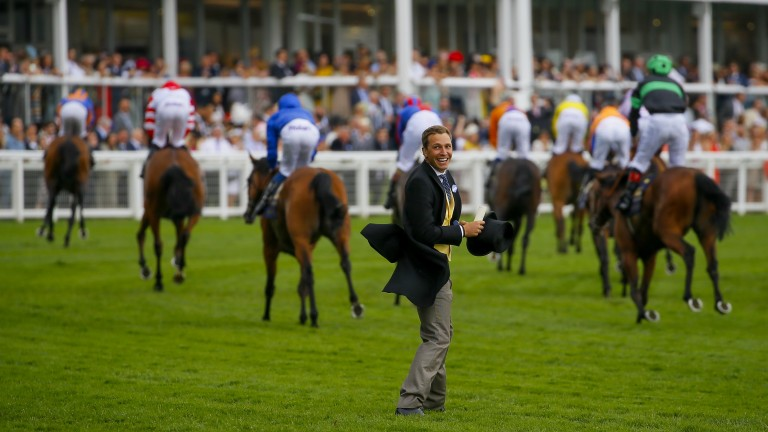 ITV Racing presenter Oli Bell, nephew of Big Orange's trainer Michael, can't contain his excitement after the victory