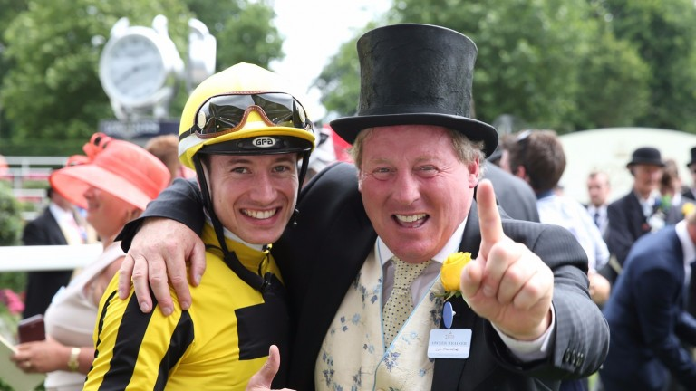 Con Marnane with Different League's jockey Antoine Hamelin after the Albany Stakes