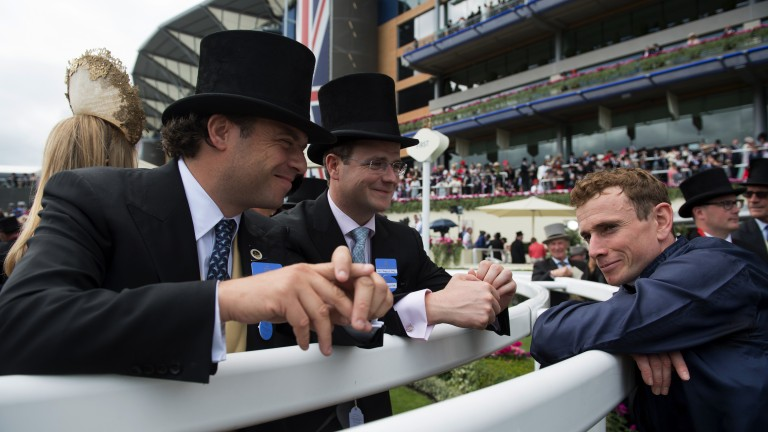 Never in doubt chaps: a relaxed Ryan Moore reflects on Caravaggio's Commonwealth Cup victory with Tom (left) and MV Magnier