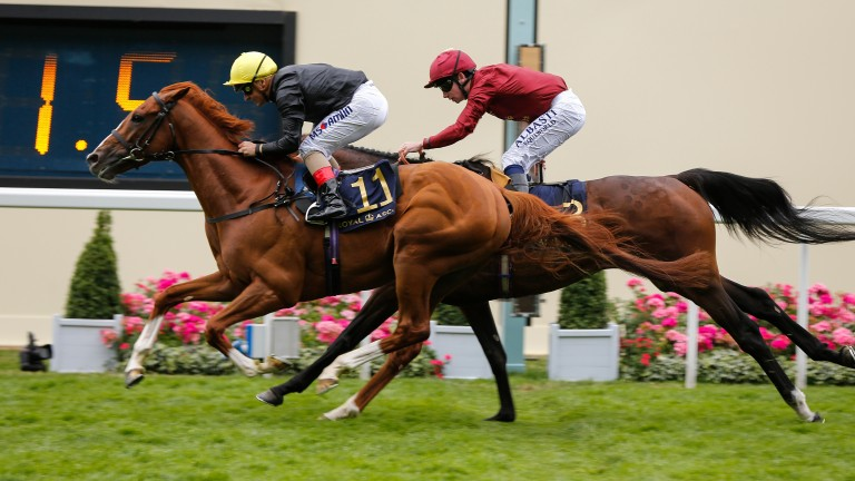 Stradivarius: son of Sea The Stars carries his breeder Bjorn Nielsen's silks to victory in the Queen's Vase