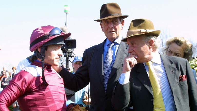 Major Johnnie Lewis (right): pictured with John Dunlop and Kieren Fallon in the parade ring after Olden Times won the 2003 Earl Of Sefton Stakes at Newmarket