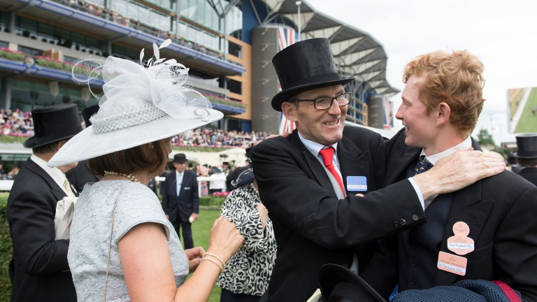 James and Tom Fanshawe share a hug after The Tin Man's Royal Ascot victory