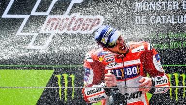 Andrea Dovizioso enjoys his victory in Catalunya