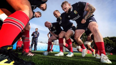 The Lions front row of Dan Cole, Rory Best and Joe Marler get ready to engage on the training pitch