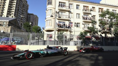 Lewis Hamilton (left) collided with rival Sebastian Vettel (right) during the Azerbaijan Grand Prix