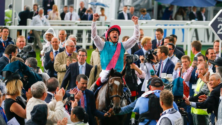 Frankie Dettori: in happier times celebrating Enable's win in the Oaks at Epsom at the start of the month