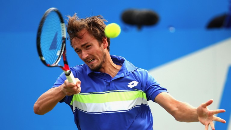 Daniil Medvedev plays a forehand at Queens Club