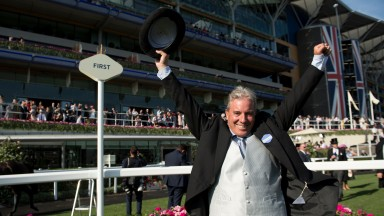 Wesley Ward celebrates Con Te Partiro's win in the Sandringham at Royal Ascot