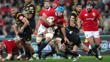 Lions flanker Justin Tipuric on the charge against the Hurricanes
