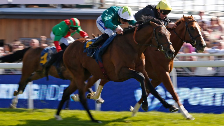 CHESTER, ENGLAND - MAY 10:  Paul Hanagan riding Here And Now (green) win The Sporting Index Handicap Stakes at Chester Racecourse on May 10, 2017 in Chester, England. (Photo by Alan Crowhurst/Getty Images)